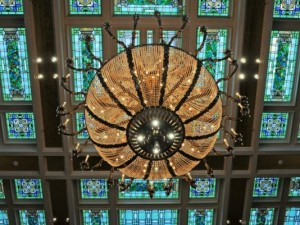 Old Hotel Utah Lobby Chandelier & Stained Glass Ceiling_2